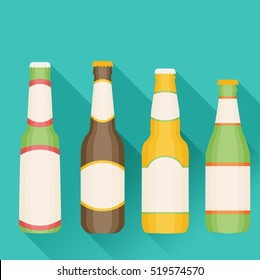 Vector Illustration of beer in flat style with long shadow.