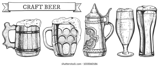 Vector illustration of a beer glass types. Wooden and glass mug, ceramic German stein, weizen and tulip glasses. Hand drawn style, banner ribbon with craft beer inscription.