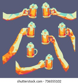 Vector illustration of beer glasses in hands. Colorful low poly pop art style.