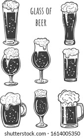 Vector illustration of beer glasses silhouette simple icons set. Stange, weizen, snifter, mug or stein, pint. Funny cartoon good for logo making. Vintage hand drawn style.
