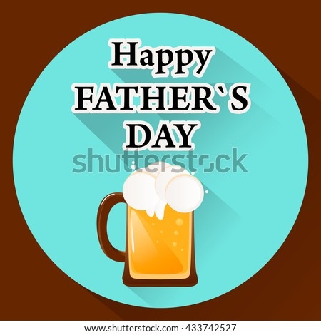 Vector Illustration Beer Happy Fathers Day Stock Vector Royalty