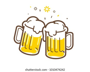 Vector illustration of Beer in Large Glasses