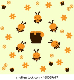 Vector illustration of bees around a honeypot, with honeycomb and flowers