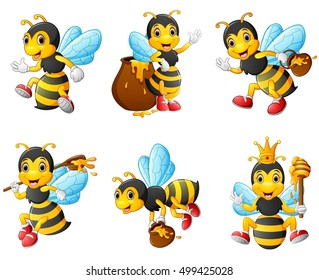 Vector illustration of  Bees character set collection