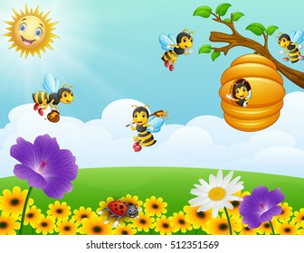 Vector illustration of Bees flying around the beehive in the garden