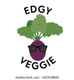 Vector illustration of a beetroot character wearing sunglasses with the funny pun 'Edgy Veggie'. Cheeky T-Shirt design concept.