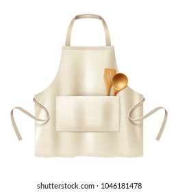 Vector illustration of beige blank kitchen cotton apron and wooden spoon and spatula in pocket. Mockup of protective uniform for cooking or housewife, isolated on white background
