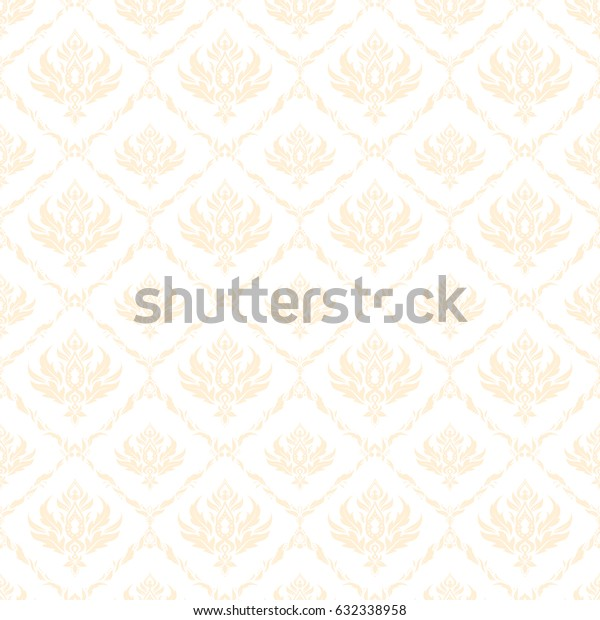 Vector illustration. In beige colors on a white background. Ikat damask seamless pattern background tile.
