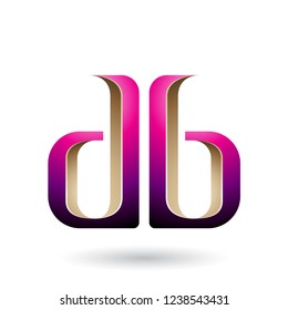 Vector Illustration of Beige and Magenta Double Sided D and B Letters isolated on a White Background