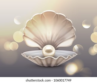 Vector illustration of beige shiny pearl in shell on glitter sparkle background