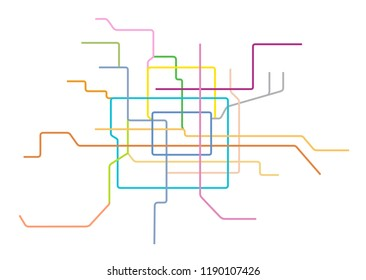 Vector illustration of the Beijing Subway Map, China