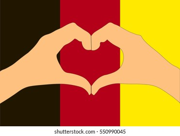 Vector illustration of Belgium flag and hands making a heart shape