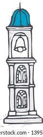 Vector illustration of a bell tower stand on a street