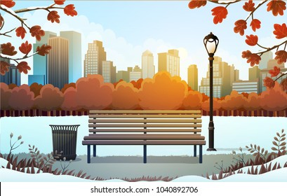 Vector illustration of bench and streetlight in city park with skyscrapers background in winter