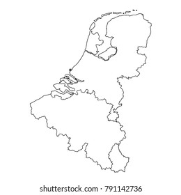 vector illustration of Benelux countries map