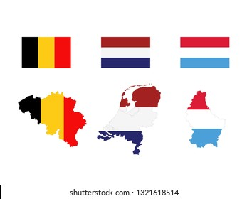 vector illustration of Benelux countries maps and flags