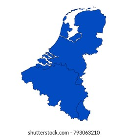 vector illustration of Benelux map