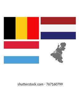 vector illustration of Benelux map and flags