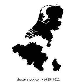vector illustration of Benelux maps