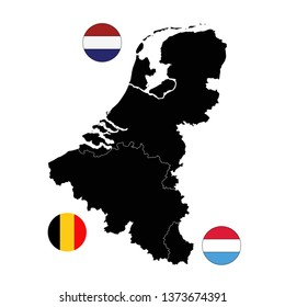 vector illustration of Benelux maps and flags