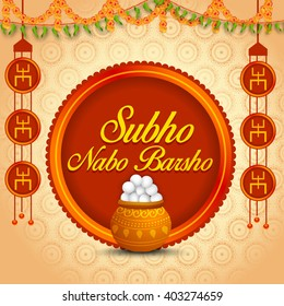 Vector illustration of bengali new year Subho Nabo Barsho, a mud pot fill with rasgulla celebration background.