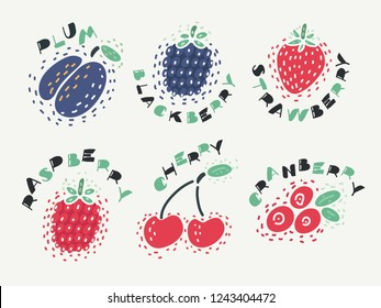 Vector illustration of berry set with cherry, raspberry, strawberry, plum, blackberry, raspberry, cranberry on isolated bakcground with lettering name.