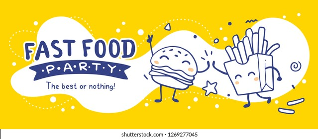 Vector illustration of best food friend. Happy french fries and burger character on yellow background. Line art style design for web, banner, print