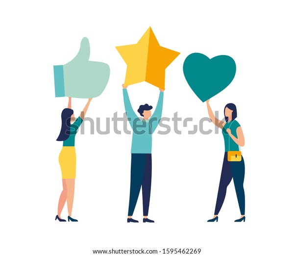 vector illustration, best performance, highest rating, vote, score five points. people leave feedback and comments that successful work is the highest score