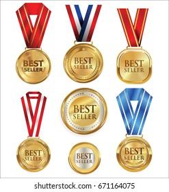 Vector illustration of best seller labels