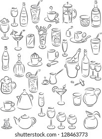 vector illustration of beverage collection in black and white