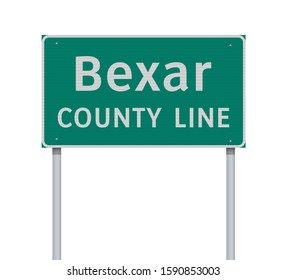 Vector illustration of the Bexar County Line green road sign