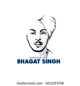 vector illustration of bhagat Singh, freedom fighter a real hero of India.