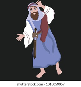 Vector illustration of a Bible hero in blue robes