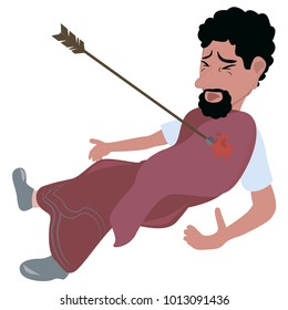 Vector illustration of biblical character with a spear in his chest. A Jewish biblical character