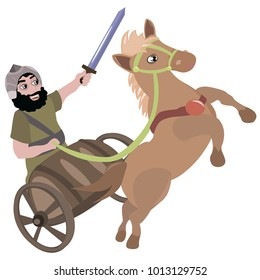 Vector illustration of a biblical character with a sword in a chariot with a horse