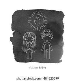 vector illustration of a biblical scene with Adam and Eve. Black watercolor background