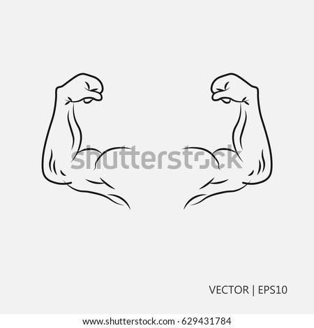 Vector Illustration Biceps Hand With Muscles Hands Of A Strong Man Flat