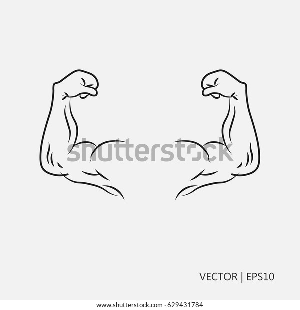 Vektor Illustrasyonu Pazi El Kaslariyla Guclu Stok Vektor