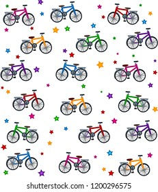 Vector illustration of bicycle.  Colorful illustration of star and bicycle for print