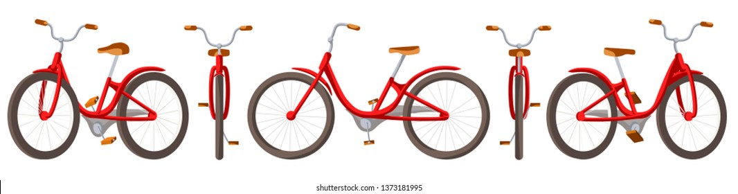 Vector illustration of bicycle for family ride. Cartoon realistic illustration. Flat vector. Front, side and back views. Isometric views. Training, bike. Set riding bikes isolated on white background.