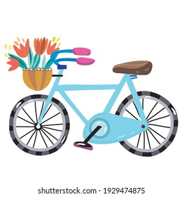Vector Illustration of Bicycle and flowers. Vector image isolated on a white background.