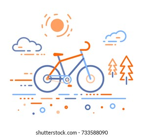 Vector illustration of bicycle in the forest. Bike training concept on white outdoor background. Thin line art flat design of bicycle, riding on the bicycle and cycling theme