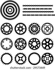 Vector illustration of bicycle gears and chain