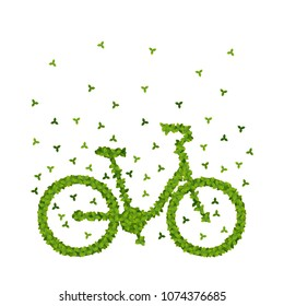Vector illustration of a  bicycle shape filled with green leaves. Green environmentally friendly transportation.