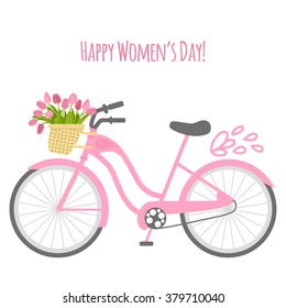 Vector illustration with bicycle and tulips in flat style. Text happy women's day. Design for birthday or wedding card