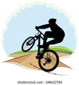 Vector illustration of bicyclist.