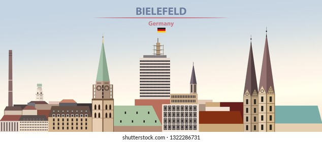 Vector illustration of Bielefeld abstract city skyline on colorful gradient beautiful day sky background with flag of Germany