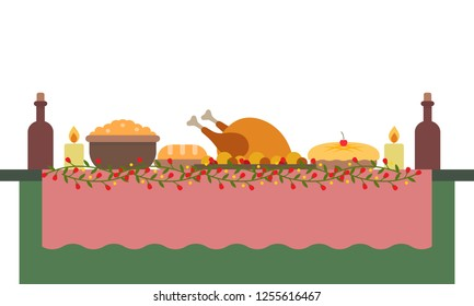 Vector illustration of a big banquet table with drinks and foods. Festive holiday dinner. Christmas and New year table. Flat style illustration.