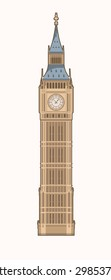 Vector Illustration of the Big Ben (Elizabeth Tower) in London