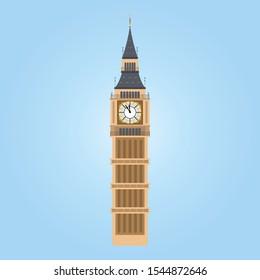 Vector Illustration of Big Ben Tower, London. Big ben icon